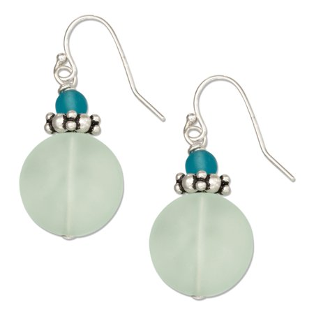 Glass Seed Bead Earrings - STERLING SILVER LIGHT BLUE GREEN ROUND SEA GLASS EARRINGS WITH LIGHT BLUE BEAD