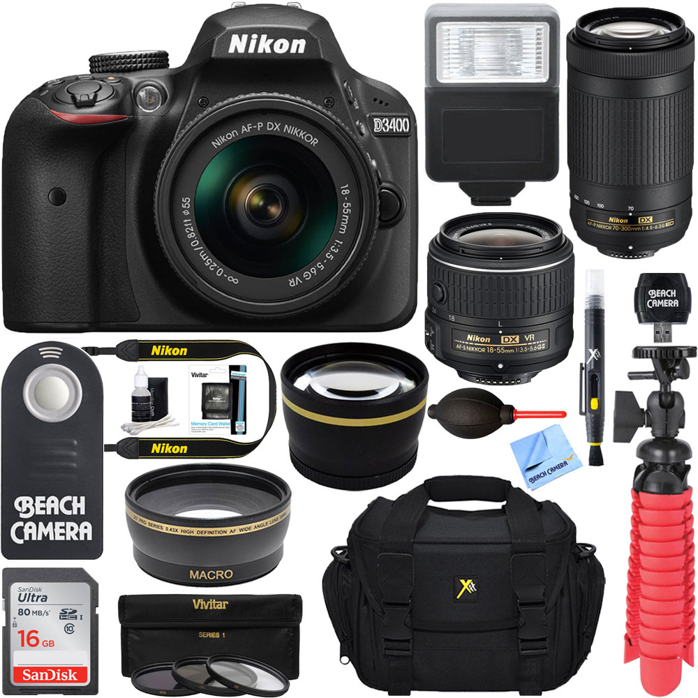 Nikon D3400 24.2MP DSLR Camera w/ AF-P 18-55 VR & 70-300mm Dual Lens Accessory Bundle (Black) - (Manufacturer Refurbished)