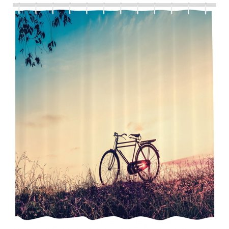 Vintage Bike Shower Curtain Retro Filter Sunset And Bicycle In Pastel Tones Hipster Joyful