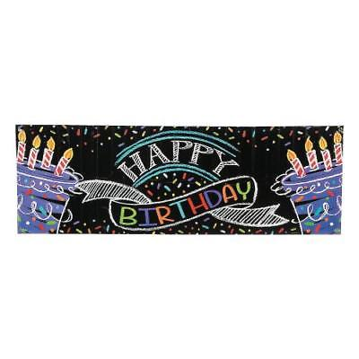 IN-13726169 Chalk Birthday Party Giant Plastic Banner