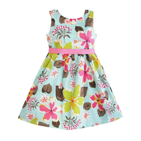 Girls Dress Blue Flower Print Children Clothing 9-10 Please check the measurement carefully before your purchase.