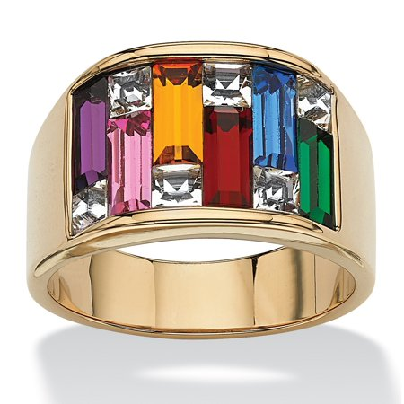 Multicolor Simulated Gemstone Baguette Ring 1.95 TCW 14k (Jewelry Simulated Stone)