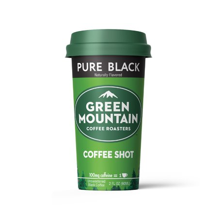 Energy Covered Sugar (Green Mountain Coffee Shots - 100mg Caffeine, Pure Black (no sugar, no dairy), Premium coffee energy boost in a ready-to-drink 2-ounce shot, 6 pack)