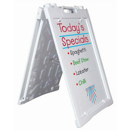 Aarco PAF-2WT Universal Sidewalk A-Frame Sign Holder with Deluxe White Markerboard, (2wt 3 Piece)