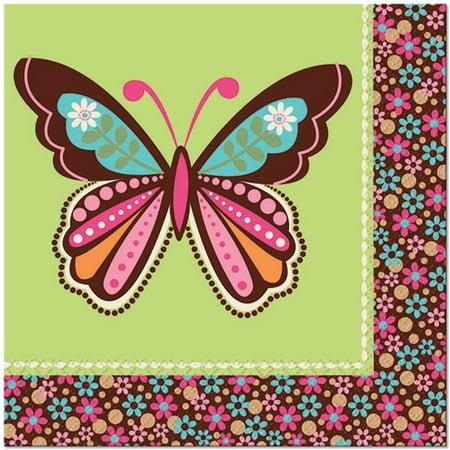 Hippie Chick Birthday Supplies (Hippie Chick Butterfly Lunch Napkins)