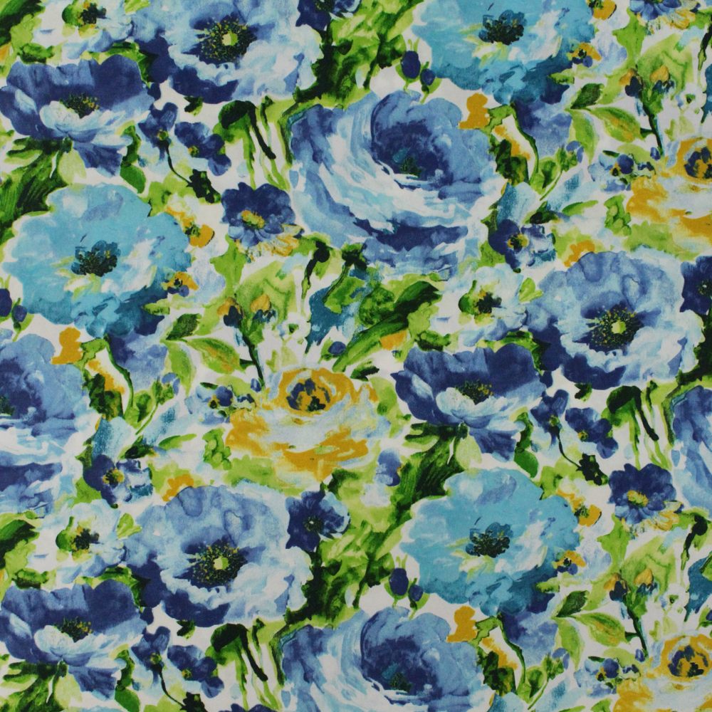 "Berkshire Home Viroqua Sunblue 54"" Indoor/Outdoor 100% Tspun Polyester Fabric by the yard"