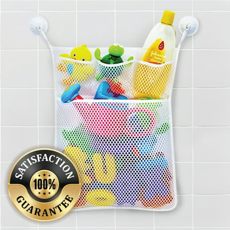 Eutuxia Bath Toy Organizer. Quick Dry Mesh Net Bag Bathtub Storage with 4 Pockets for Kids Toys and Bathroom Essentials. Includes 4 Lock Tight Suction Hooks. Mold Resistant & BPA - Kids Bathroom Accessories