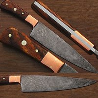 Custom Made Damascus Steel Chef Knife w/ Coco Bola Wood Handle