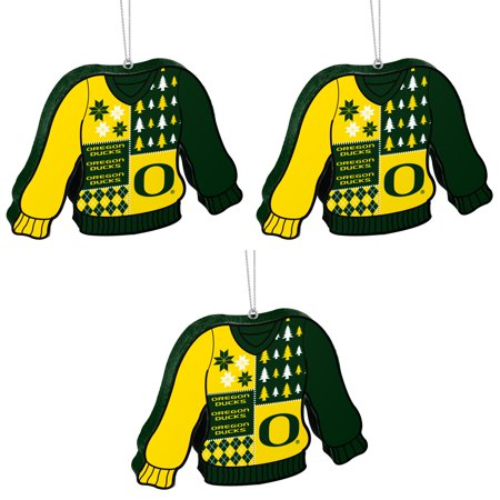 NCAA Oregon Ducks Foam Ugly Sweater Christmas Ornament Bundle 3 Pack By Forever Collectibles