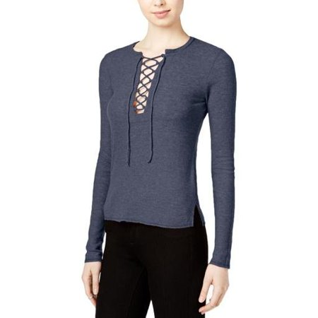 Chelsea Sky Women's  Lace-up Long Sleeve Top Size