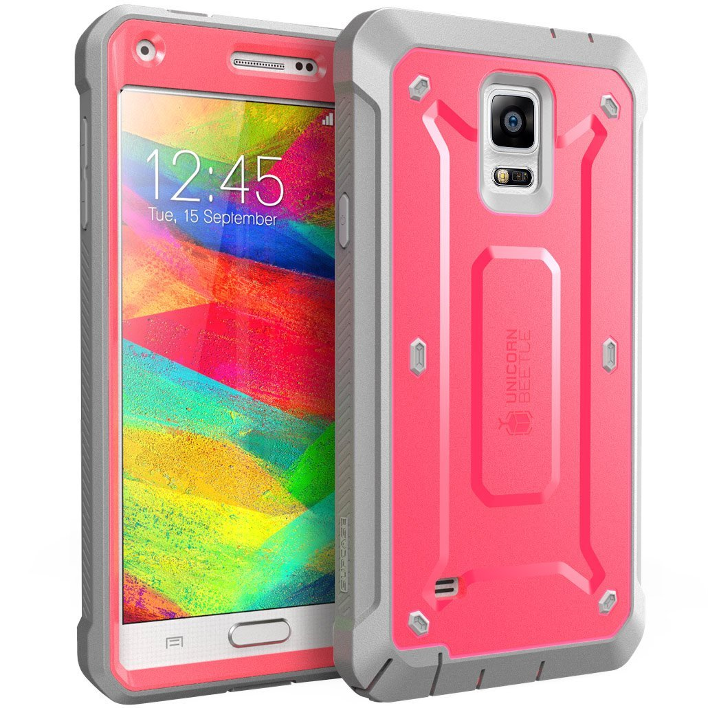 SUPCase Samsung Galaxy Note 4 Case - Unicorn Beetle Pro Series Full-body Hybrid Protective Cover with Built-in Screen Protector - Pink Gray