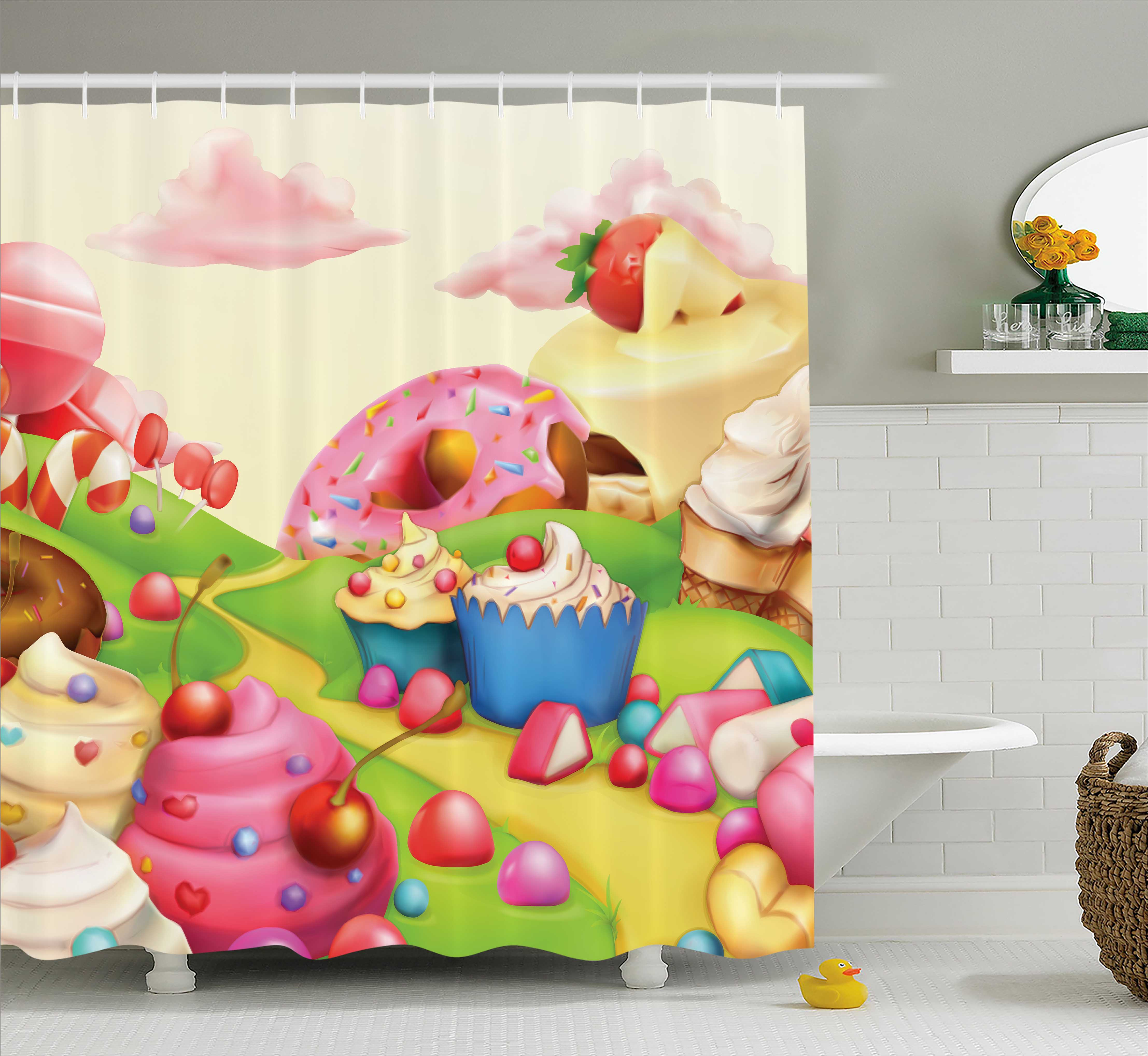 Modern Shower Curtain, Yummy Donuts Sweet Land Cupcakes I...
