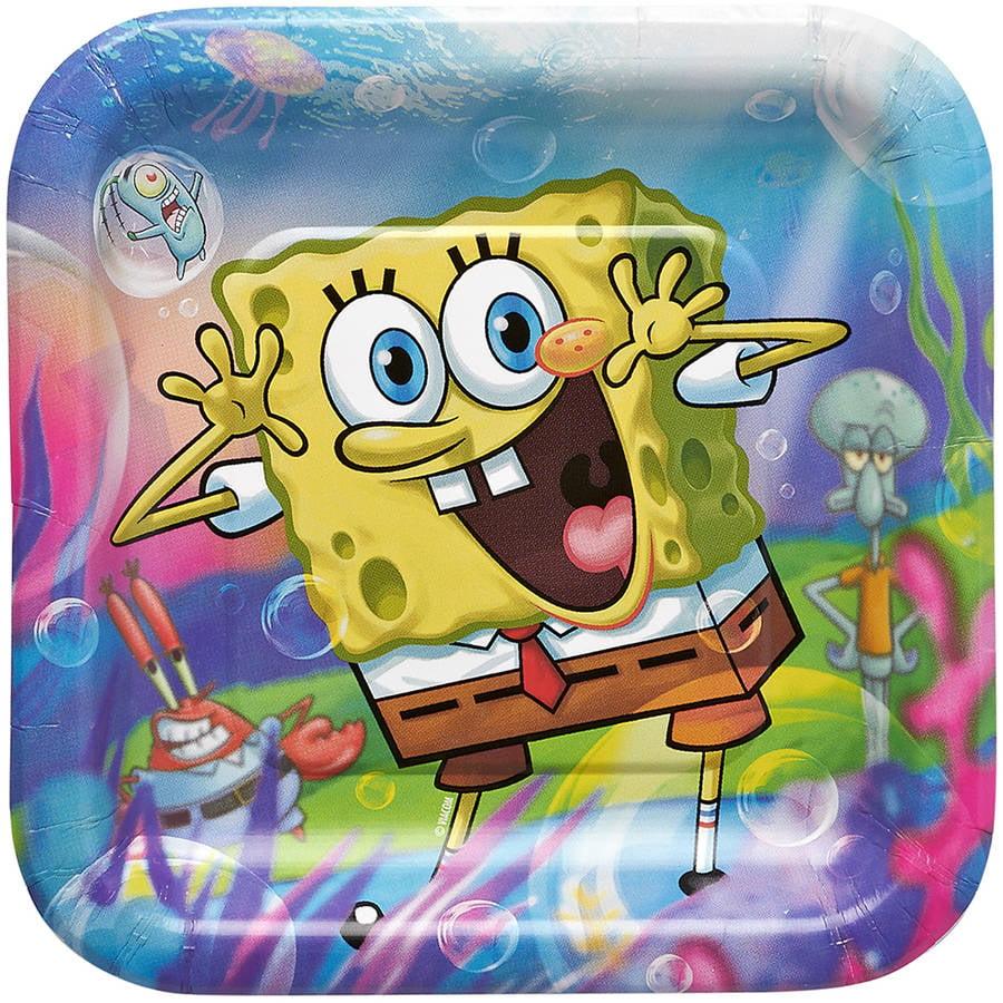 """SpongeBob SquarePants 7"""" Square Plate, 8 Count, Party Supplies"""