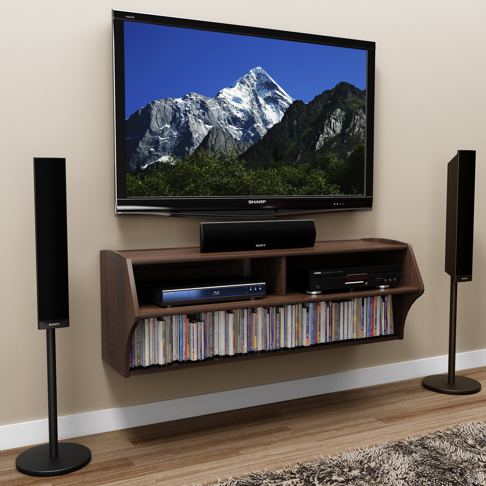Prepac Altus Wall Mounted A V TV Stand, Multiple Finishes by Prepac Manufacturing Ltd
