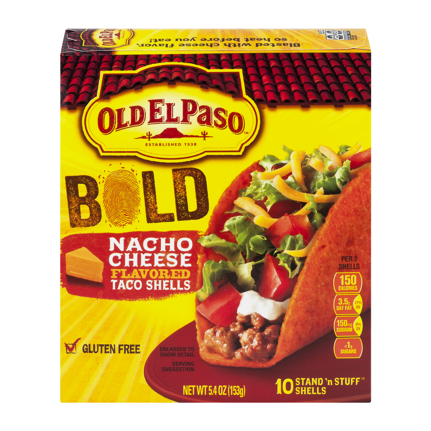 Old El Paso™ Stand 'n Stuff Bold Nacho Cheese Flavored Shells 10 ct 5.4 oz Box