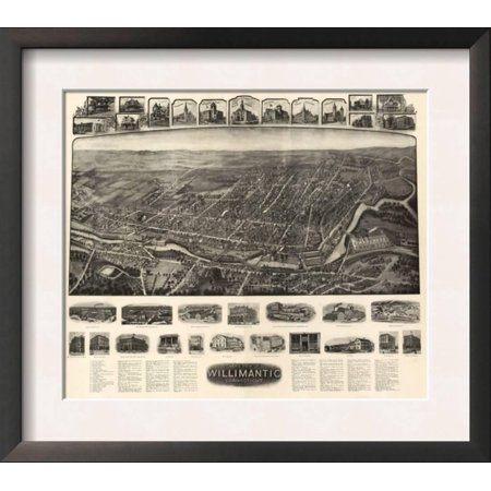 Willimantic, Connecticut - Panoramic Map Framed Art Print Wall Art  - 16.5x14.5
