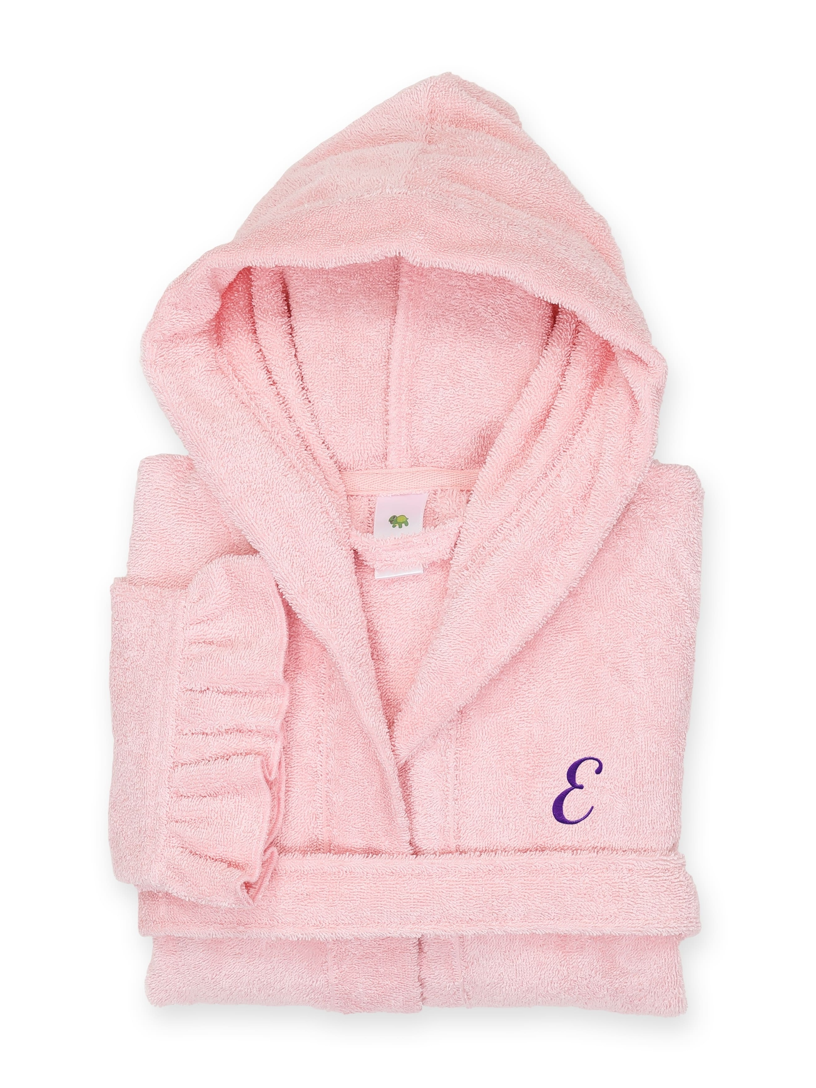 Linum Sweet Kids Ruffled Pink Turkish Cotton Hooded Terry Bathrobe with Purple Script Initial