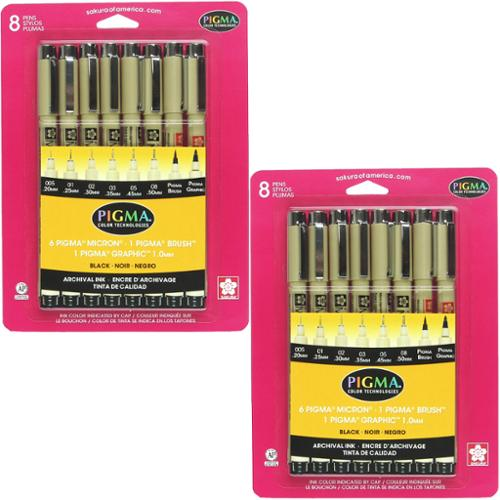 Sakura Pigma Micron Assorted Tips - 2 Sets of 8pk BLACK Pens Brush Micron