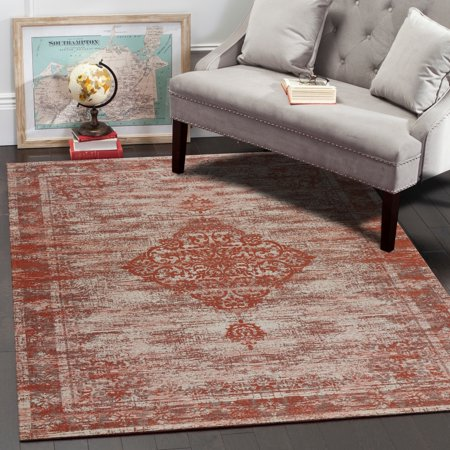 Jewel Flat Woven Distressed Medallion Border Rust Lively Victorian Indoor Traditional / Transitional Area Rug ( 5' x 7'