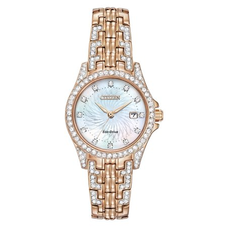 Ladies' Eco Drive Silhouette Crystal EW1228-53D Pink Gold-Tone Stainless steel Bracelet with Mother-of-Pearl Crystal Accented Dial Watch