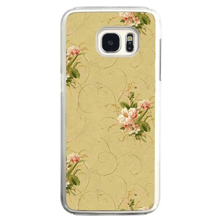 Antique Vintage Flower Wallpaper Pattern In Pink And Green Samsung Galaxy S7 Edge Phone Case