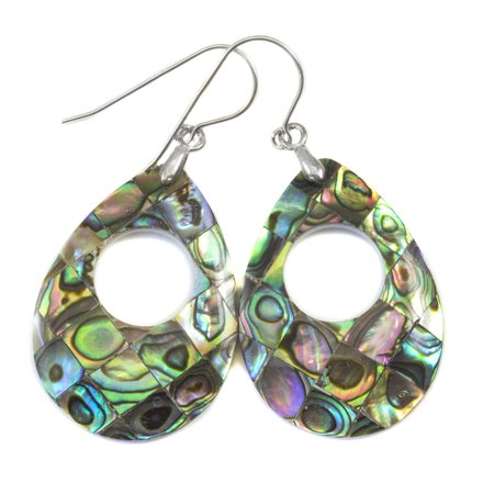 Abalone Earrings Mother of Pearl Paua Shell Peacock Blue Green Simple Mosaic Teardrops MOP Drops Sterling Silver