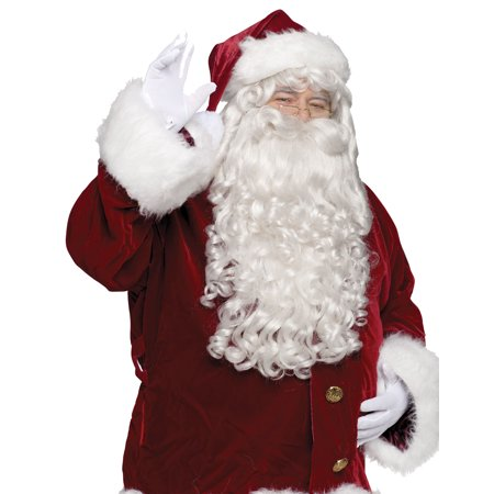 Santa Super Deluxe Adult Wig And Beard - Santa Claus Beard And Wig
