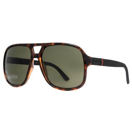 bc4c88b340ccd GUCCI - Gucci GG 1115 S M1W 1E Havana Brown Black Rubber Men s Aviator  Sunglasses - Walmart.com