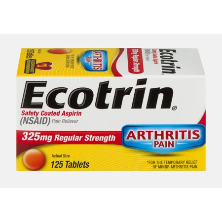 Ecotrin Regular Strength Safety Coated Aspirin, Arthritis Pain, 125 Tablets