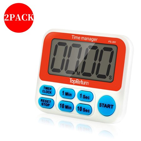 2PACK Digital Kitchen Timer, Cooking Timer, Large Display, Strong Magnet Back, Loud Alarm, Count-Up & Count Down for Cooking Baking Sports Games Office