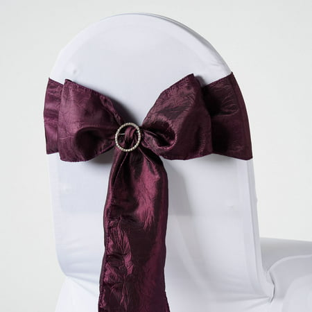 BalsaCircle 5 pcs Taffeta Crinkle Chair Sashes Bows Ties - Wedding Party Ceremony Reception Event Decorations Unique Supplies (Silver Wedding Anniversary Banners)