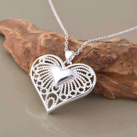 ON SALE - Bursting With Love Filigree Heart Necklace -