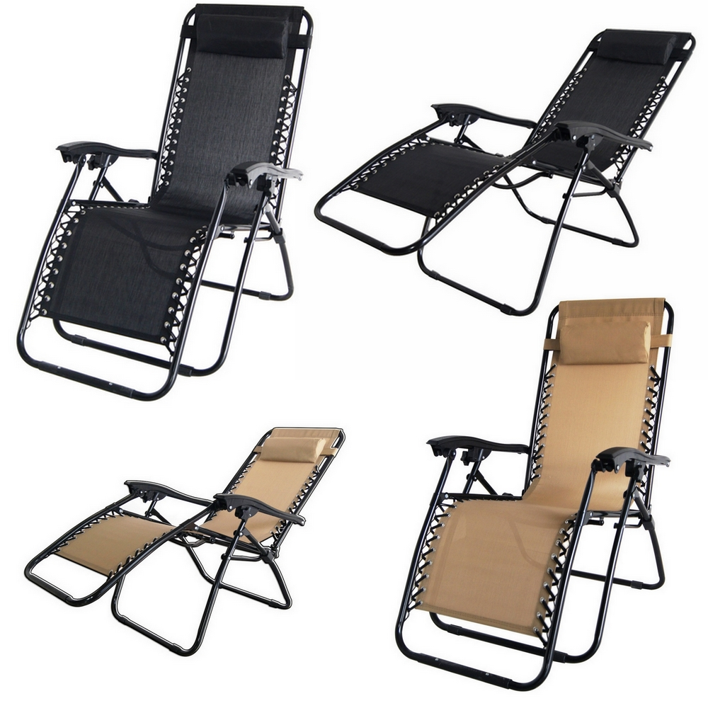 2x Palm Springs Zero Gravity Chairs Lounge/Outdoor Yard Patio Chairs Beach Black
