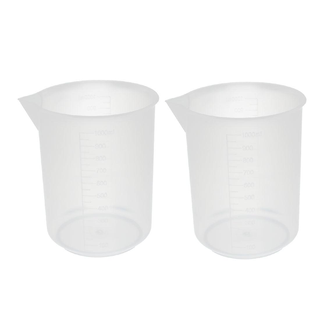 Unique Bargains 2Pcs Kitchen Labotary 1000mL Plastic Measuring Cup Jug Pour Spout Container by Unique-Bargains