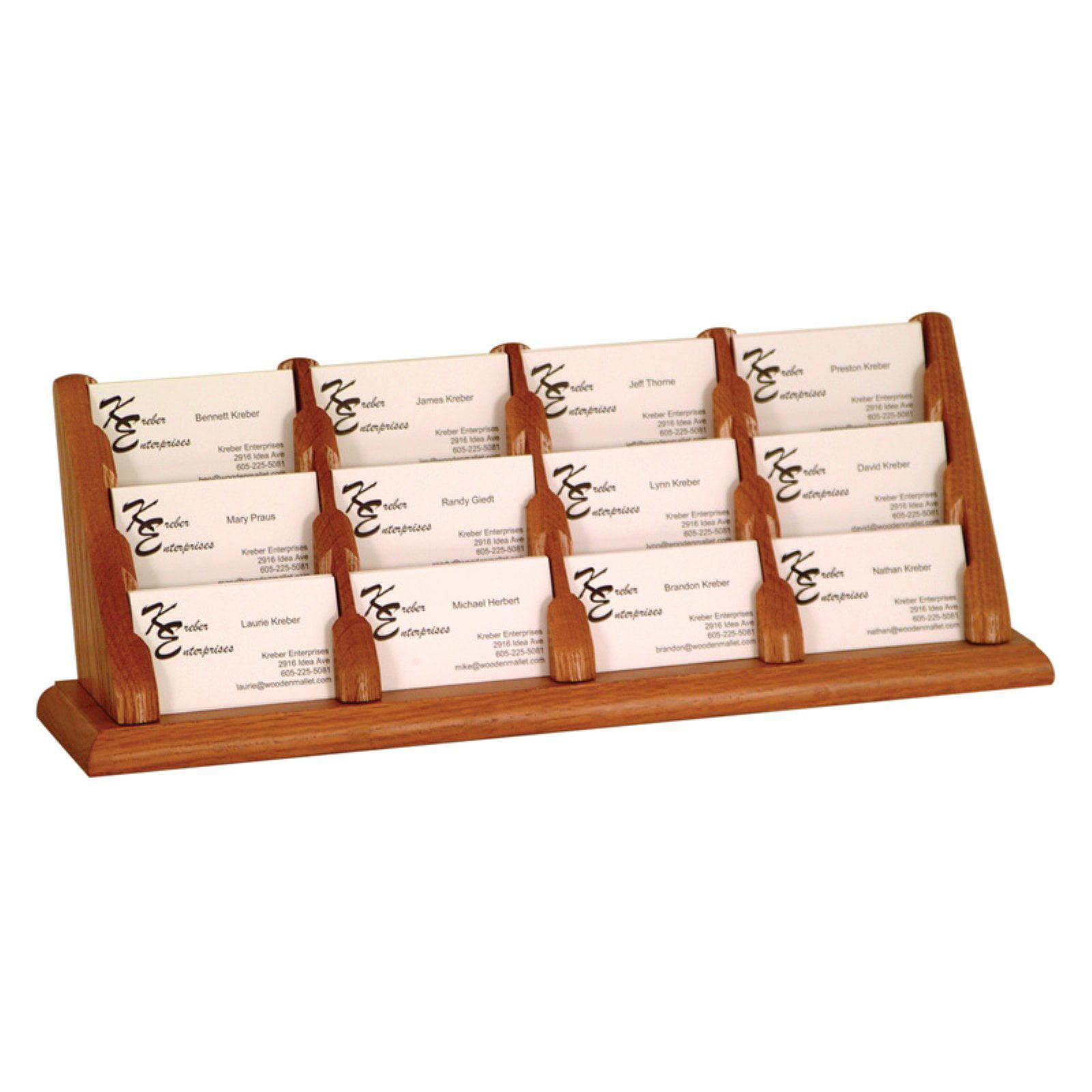 Wooden Mallet 12-Pocket Counter Top Business Card Holder