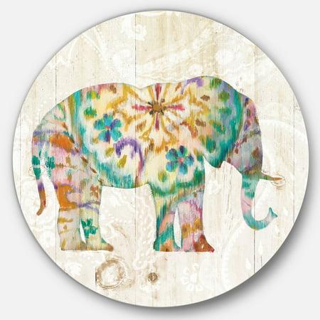 Designart 'Boho Paisley Elephant I' Traditional Metal Circle Wall Art - image 1 de 3