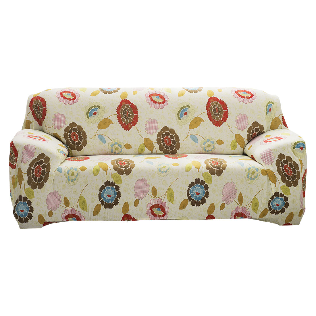 """Unique Bargains 74"""" - 90""""Mult-color Sofa Cover Slipcovers Protector Stretch 3 Seats Flower Pattern"""