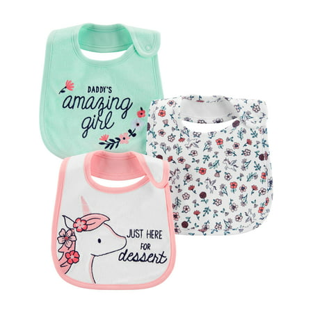 Child of Mine by Carters Baby Girls Bibs, 3-Pack