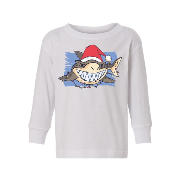 Awkward Styles Ugly Christmas Long Sleeve Shirt for Boys Girls Toddler Xmas Shark Shirt