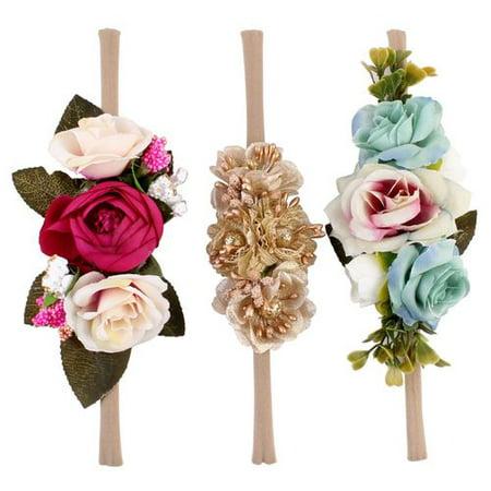 KABOER 3 Pcs/set Baby Floral Headbands Girl Flowers Crown Newborn Toddler Hair Bow Hairbands