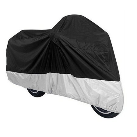 Outdoor Motorcycle Protective Cover Silver Tone Black - Silver Motorcycle Cover