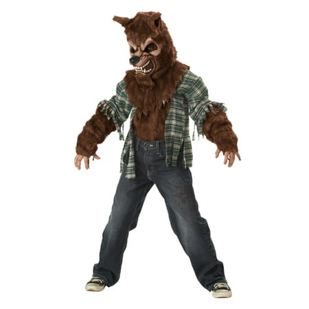 Boys Furry Werewolf Kids Horror Halloween Costume (Ware Wolf Costume)