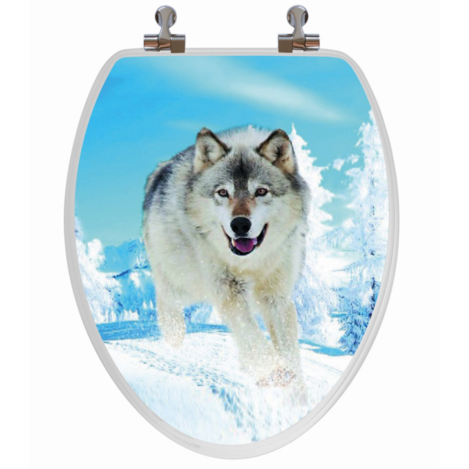 Topseat 6TS3E1300CP Snow Wolf Elongated 3D Toilet Seat