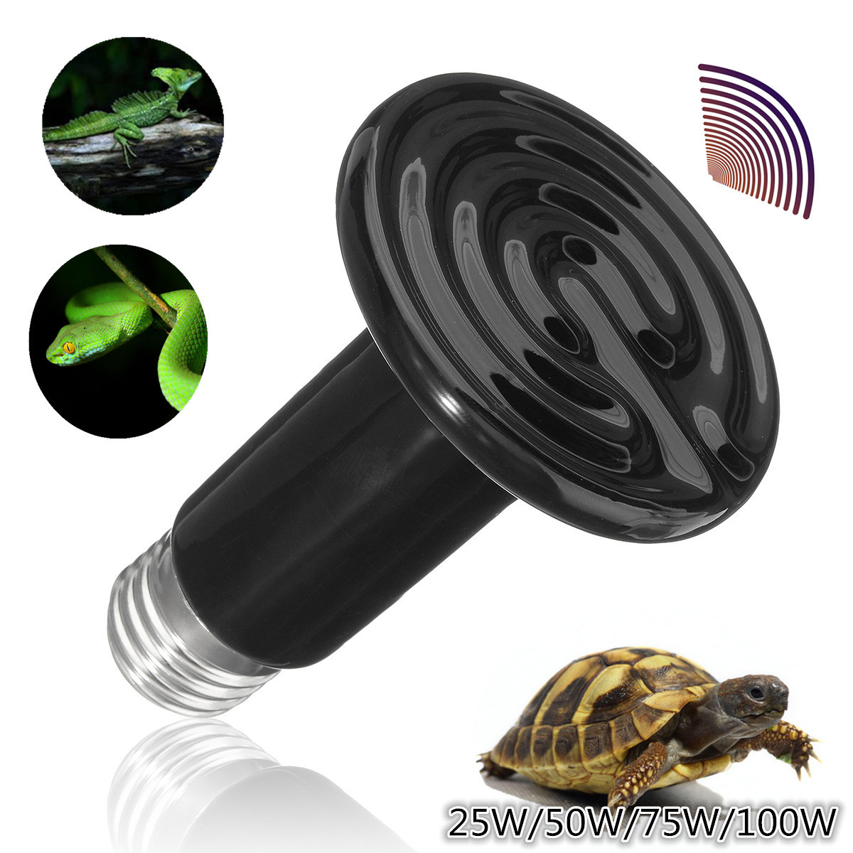 25W 50W 75 W 100W 110V E27 Ceramic Infrared Reptile Heat Emitter Brooder Coop Pet Lamp Bulb Keep Warm in Winter For Reptile Pet Brooder Pet Grow Plant Turtle Zoo
