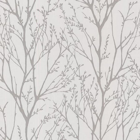 Brewster Delamere Pewter Tree Branches Wallpaper