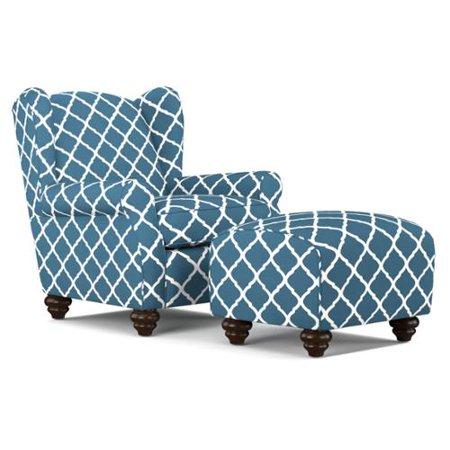 Awe Inspiring Handy Living Hana Navy Blue Trellis Wingback Chair And Ibusinesslaw Wood Chair Design Ideas Ibusinesslaworg