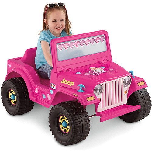 Fisher Price Power Wheels Barbie Jeep Wrangler 12 Volt Kids Ride On Toy, Pink