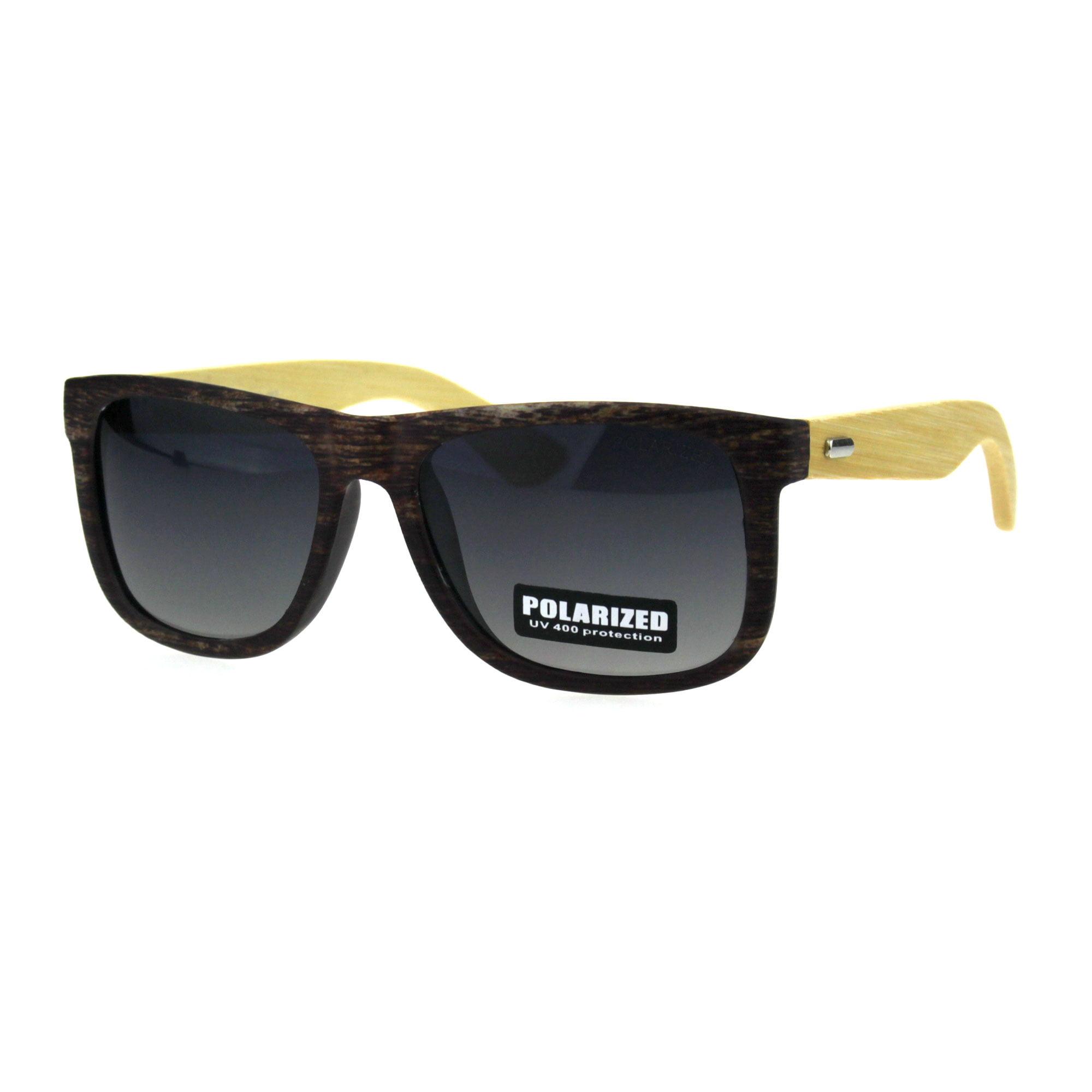 c959ad8451 Mens Polarized Lens Rectangular Horn Rim Hipster Bamboo Arm Sunglasses  Matte Black Green