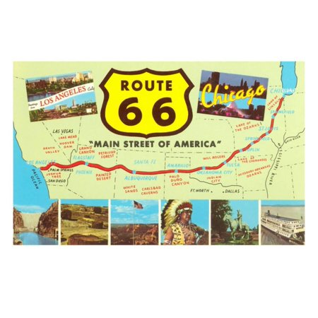 Map of Route 66 Print Wall Art