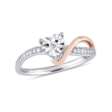 - 1/10 Carat Diamond 10kt Two-Tone Gold Heart Swirl Promise Ring